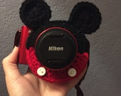 Made to order Crochet Mickey Mouse inspired camera lens buddy for child photography