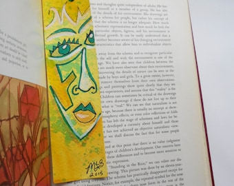 Hand-painted Abstract Face Art Bookmark