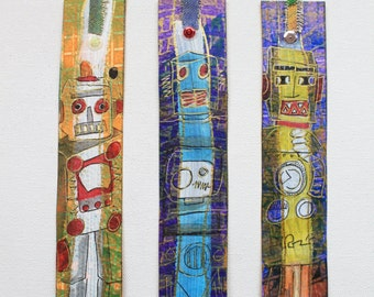 3 Piece Set Retro Robot Hand Painted Art Bookmarks