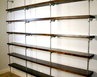 Industrial Shelving Unit - Industrial Office furniture - Office shelving - Urban pipe shelving - Metal and wood shelving - Industrial Shelf