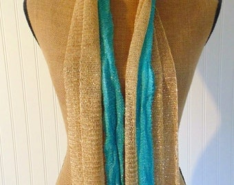 Vintage Scarves Two Blue And Gold Scarves Vintage Fashion Women's Accessories