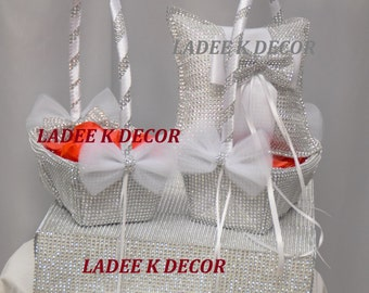 Set of 3 (One Bling Ring Bearer Pillow with matching Two Bling Flower girl baskets) for your wedding