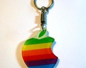 Vintage 1980's Retro Apple Computer Rainbow Logo Keychain Key Chain Rare, iPhone, iMac, Macbook Pro, Ipad, Ipod, G4, G5, Mac