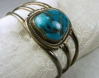 Tri-Strand Native American Style 925 Sterling Silver & Turquoise Cuff Bracelet