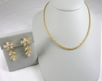Dazzling Gold Toned Chain Necklace & Crystal Dangle Earrings Set ~ Monet