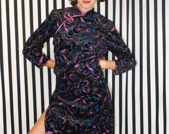 Vintage Chinese Black Velour Sparkle Dress - MEDIUM