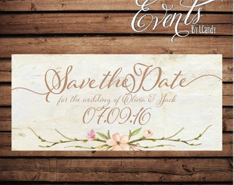 Wedding Save-the-Date Printed Postcard - vintage cream with floral