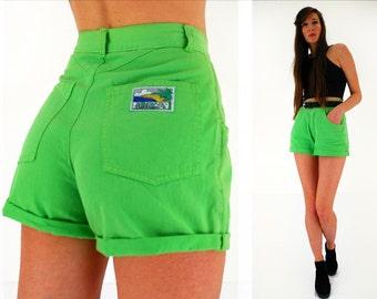 High waisted shorts, neon green shorts, 90s jean shorts, vintage cut offs, lightweight cotton, Ibiza club kid, small, UK 10, EU38