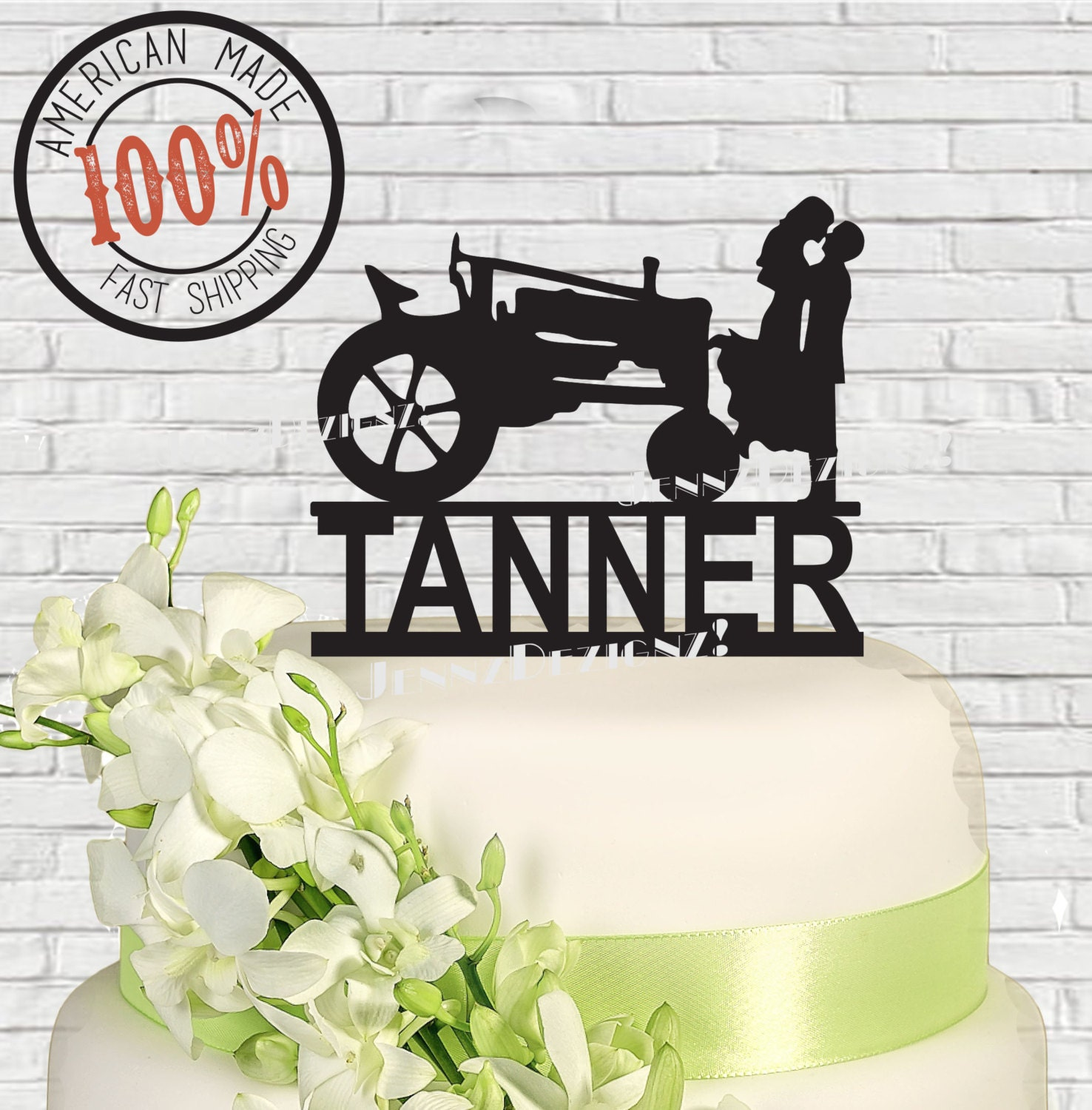 Silhouette Couple With Farm Tractor Last Name Surname Wedding