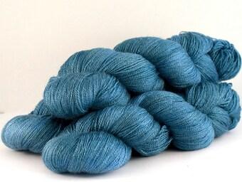 Silky Lace merino silk hand dyed yarn 'Blue, Twelve'