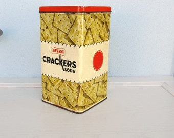 Industrial Advertising Original METAL Tin BOX Canister Storage 1960s