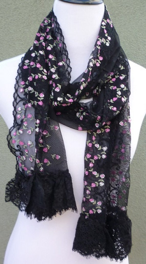 Black Scarves. Clothing & Shoes / Accessories / Scarves & Wraps / Scarves. of Results. Sort by: Womens Delicate Leaf Lace Scarf with Tear Drop Tassels. Peach Couture Colorful Victorian Damask Lightweight Black and White Infinity Loop Scarf. New Arrival.