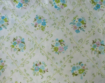 Twin Flat Sheet ~ Floral Lattice Turquoise Lavender Green ~ Cannon Monticello Bedding