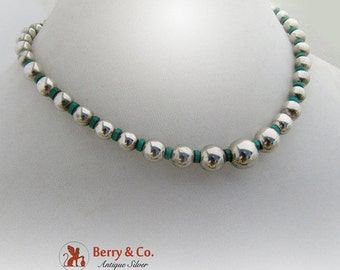 SaLe! sALe! Graduated Bead Necklace Sterling Silver Faux Turquoise 1960