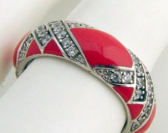 SaLe! sALe! Enamel Band Ring Zirconium Sterling Silver
