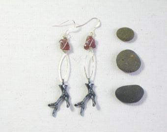 long silver stone earrings, rustic garnet earrings, mixed metal jewelry, boho jewelry earrings, antler jewelry