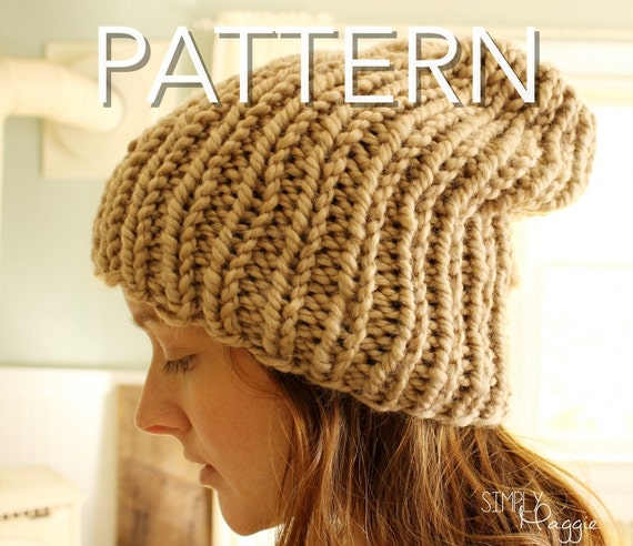 Knitting Rib Stitch For Beginners : Slouchy Hat // Knit Purl Hat // Rib Stitch Hat // Beginner Pattern // PDF Dow...