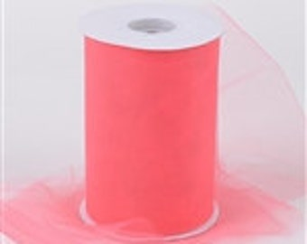 Coral color  tulle 6 wide inch by 25 yards/75 foot for dish scrubbies and tutus