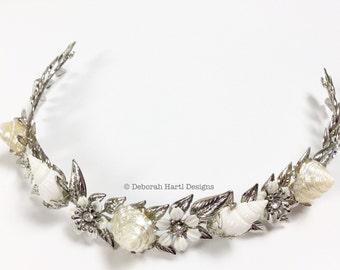 Mermaid wedding headband - Seashell beach bride hairpiece Bridal shells hair band Crown Headband