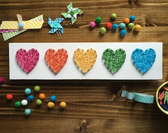 MADE TO ORDER String Art Mini Row of Hearts Sign