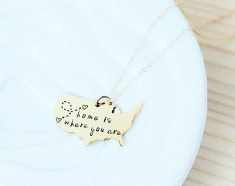 Home is Where You Are USA Necklace Choose Silver or Gold, Customize It