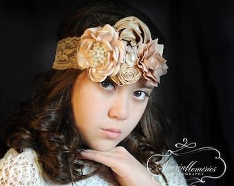Beige Headband/Baby Headband/Baby Headbands and Bows/Infant Headband/Baby Girl Headband/Girl Headband Baby/Toddler Headband/Baby Romper