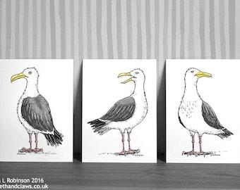 Seagulls Art Prints, Seagull Wall Art, Seagull Decor, Seagull Illustration, Nautical art, Seaside, Beach House, Birds, Set of prints, Summer