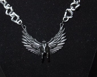 Black Flying Horse Necklace
