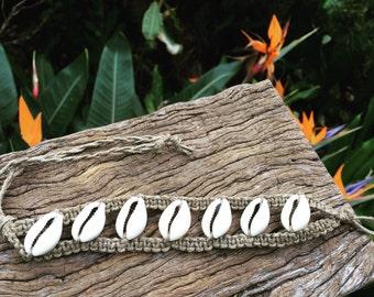 Handmade Hemp Macrame Wenja Bracelet with Cowrie Shells
