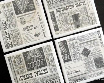 Newspaper Tile Coasters, Tile Coasters, Coaster, Coasters, Tile Coaster, Old Newspaper Coasters, Ceramic Coasters, Coaster Set of 4