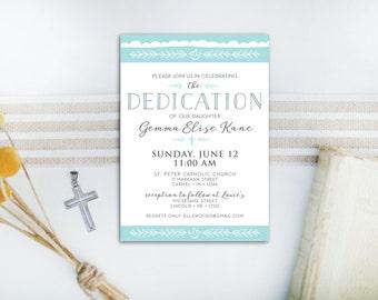 INSTANT DOWNLOAD dedication invitation / baby dedication invitation / baby boy dedication / DIY dedication invite / editable pdf invite