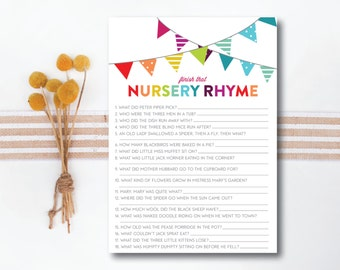 INSTANT DOWNLOAD printable baby shower game / nursery rhyme game / rhyme matching game / #VC103