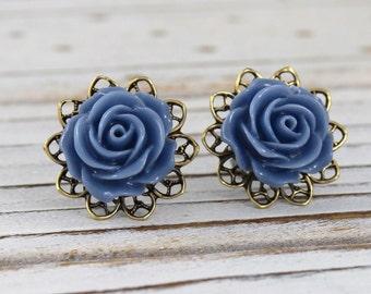 Slate Blue Rose - vintage style antique brass rose post earrings - Secret Garden Collection