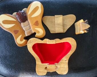 Wooden Butterfly Trinket Box