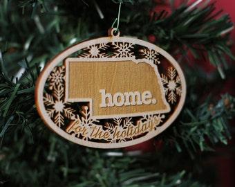 Engraved Nebraska Wood Christmas Ornament