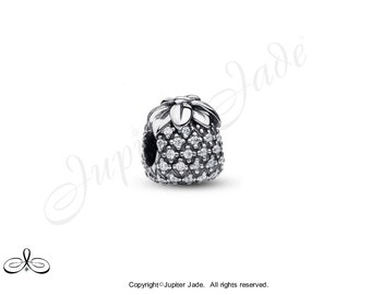 Authentic 925 Sterling Silver European Bracelet Charm w Pave Cubic Zirconia - Pineapple - Size compatible w Pandora