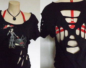 S/M - Attacked! Biohazard T-Shirt | Summer Resident Evil Umbrella Corporation Upcycled Open Back Top Recycled Geek Shirt EPHERIA