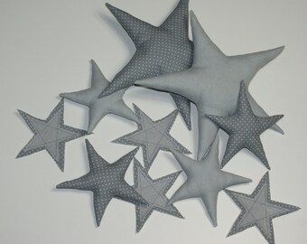 Fabric Stars. Linen Fabric Stars. Vintige Stars. Eco Friendly Nursery decor. Vintige Room Decor
