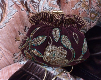 Vintage Brown Velvet Purse with beadwork