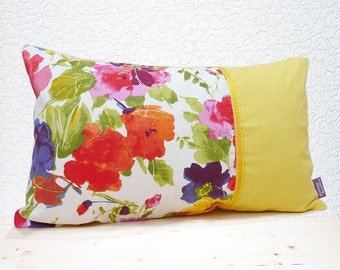 "Handmade 20""x12"" Cotton Cushion Lumber Pillow Vibrant Mauve/Pink/Red/Yellow Floral with Buttercup Yellow Pin Dot Design Print"