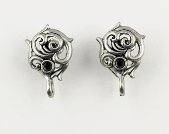 1 pair (2 pieces) of pewter earring post finding with back stopper , 12mm x 16mm #FIN E 085