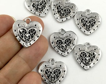 7 heart charms charms,silver tone 22mm # CH 049