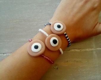 SET of 3 bracelets -Funky beaded bracelets - boho bracelet - Evil Eye bracelet -Eye bracelet -Fimo evil eye bracelet - polymer clay bracelet