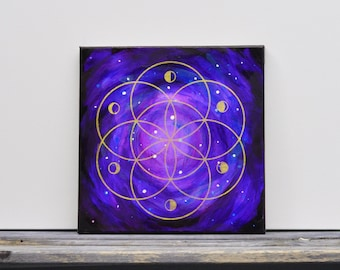 "Galaxy Sacred Geometry Moon Phase Mixed Media Painting  12"" x 12"""