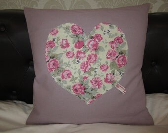 40cm Cushion with Appliqued Vintage Heart Motif