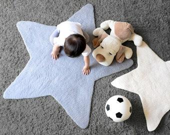 Star Felt Rug, GREY/ WHITE, LARGE Felt Rug, Kids Decor, Kids Rug, Felted, Nursery Rug, Children decor, Star Decor