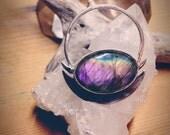 Lunation: purple labradorite in a custom sterling silver setting