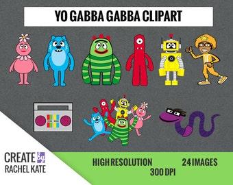 Yo Gabba Gabba Clipart Set for Digital Scrapbook Paper Pack