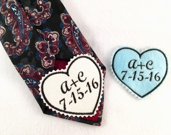 BRIDE and GROOM GIFTS - Something Blue, Groom Tie Patch, Iron On Tie Patches, Sew On Tie Patches, Bridal Gift, Gifts for the Groom