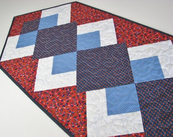 "Quilted Patriotic Table Runner, Americana Table Mat, Red White Blue Floral Table Runner, 15""x47"", Quiltsy Handmade"